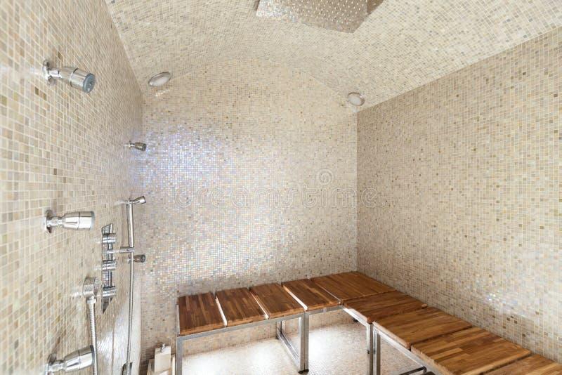 Sauna Intérieur, Douche Image Stock. Image Du Inside