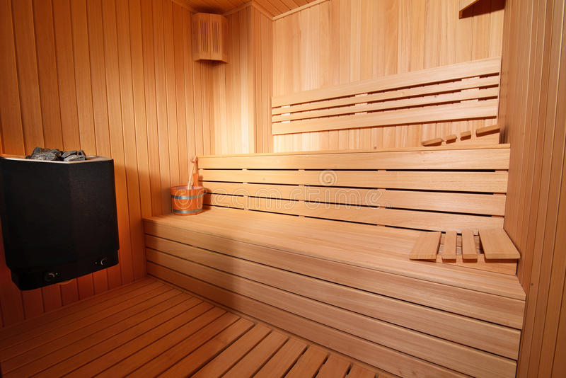 Sauna interior. Modern finnish sauna interior wiew stock photo