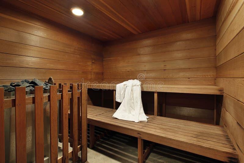 Sauna in luxury home stock image