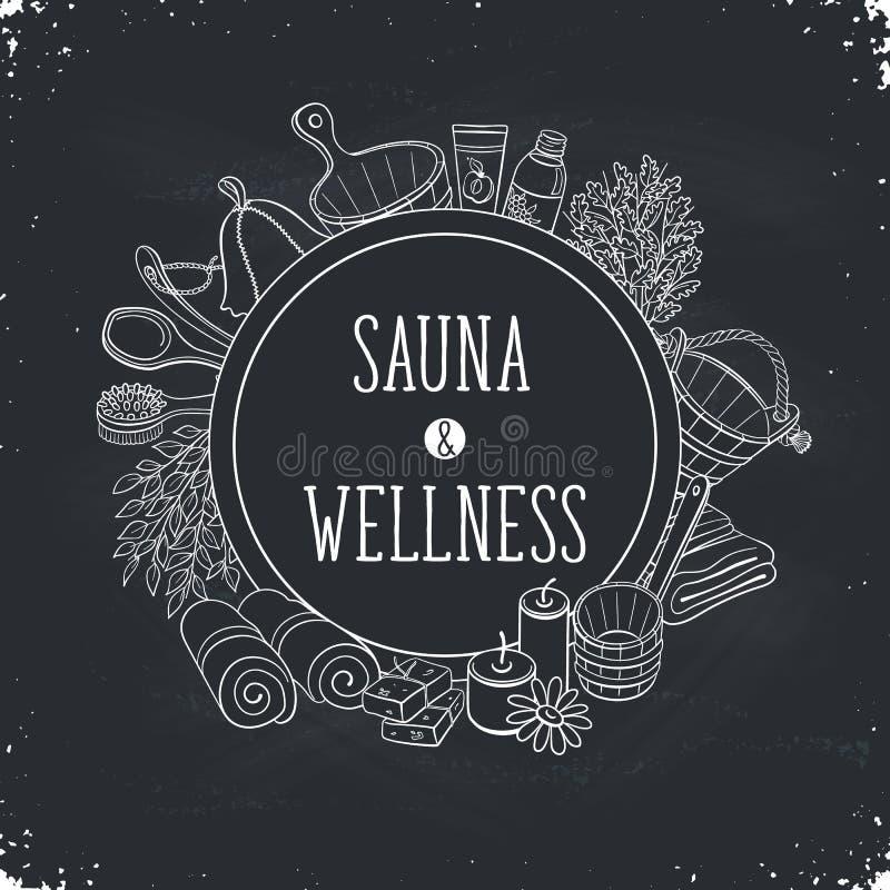 Sauna plakata szablon royalty ilustracja