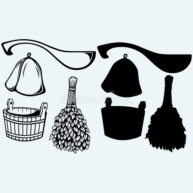 Sauna przygotowywający akcesoria miotła, wiadro, kapelusz i miarka -, royalty ilustracja