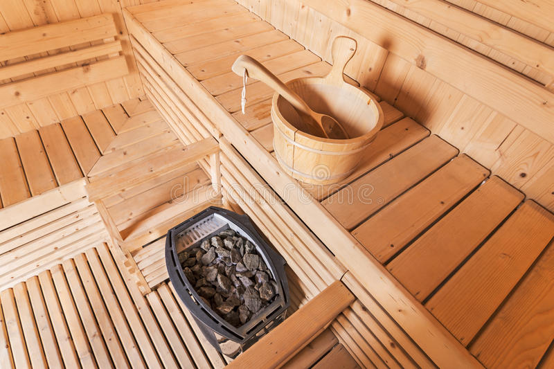 Sauna room. Interior of a private sauna, for healthy stock photography