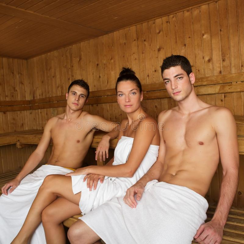 Sauna spa therapy young beautiful people group royalty free stock images