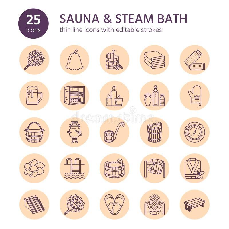 Sauna, steam bath line icons. Bathroom equipment birch, oak birch, bucket. Hammam, japanese, finnish russian, infrared. Sauna, steam bath line icons. Bathroom stock illustration