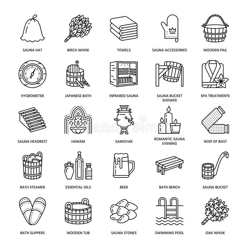 Sauna, steam bath line icons. Bathroom equipment birch, oak birch, bucket. Hammam, japanese, finnish, russian, infrared sauna sign. Spa relaxation accessories vector illustration