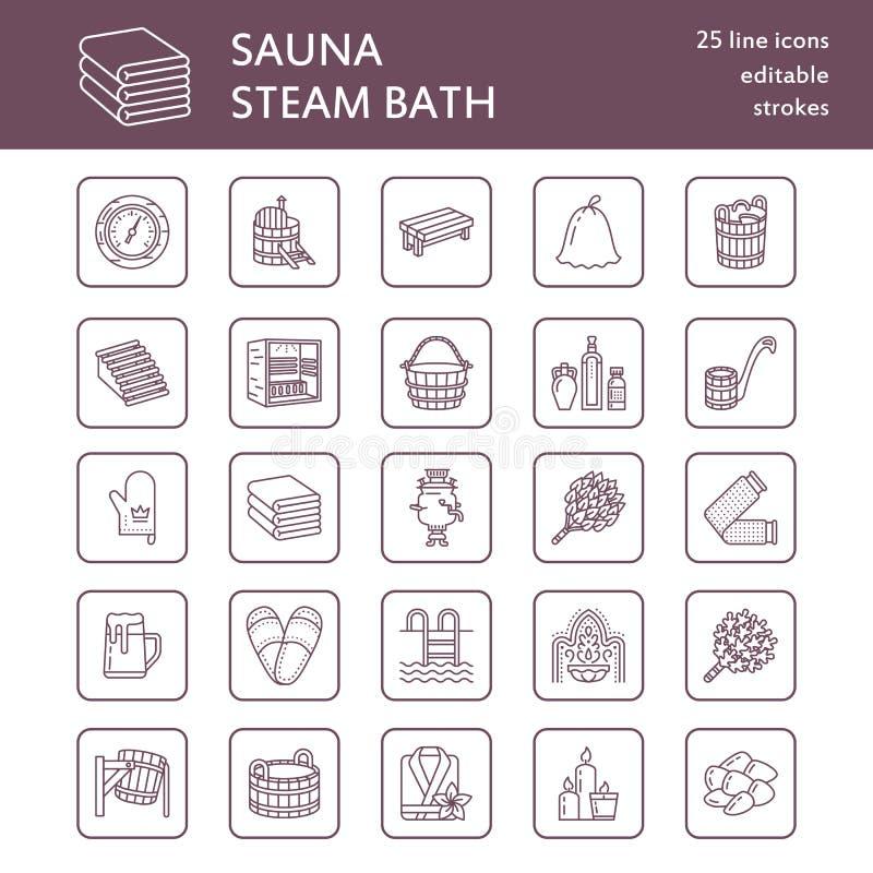 Sauna, steam bath line icons. Bathroom equipment birch, oak birch, bucket. Hammam, japanese, finnish, russian, infrared. Sauna sign. Spa relaxation accessories stock illustration