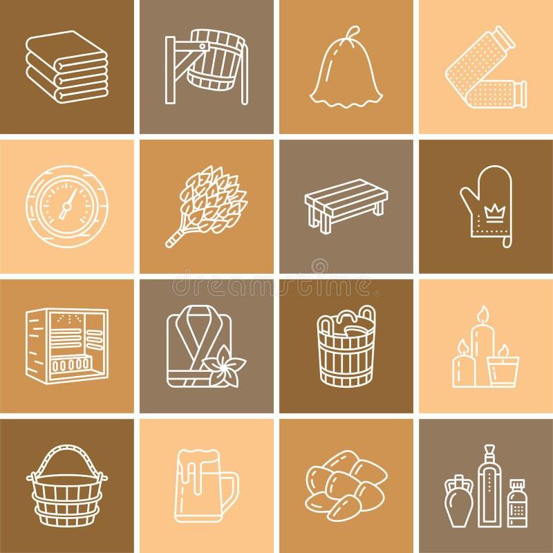 Sauna, steam bath line icons. Bathroom equipment birch, oak birch, bucket. Hammam, japanese, finnish, russian, infrared. Sauna sign. Spa relaxation accessories vector illustration