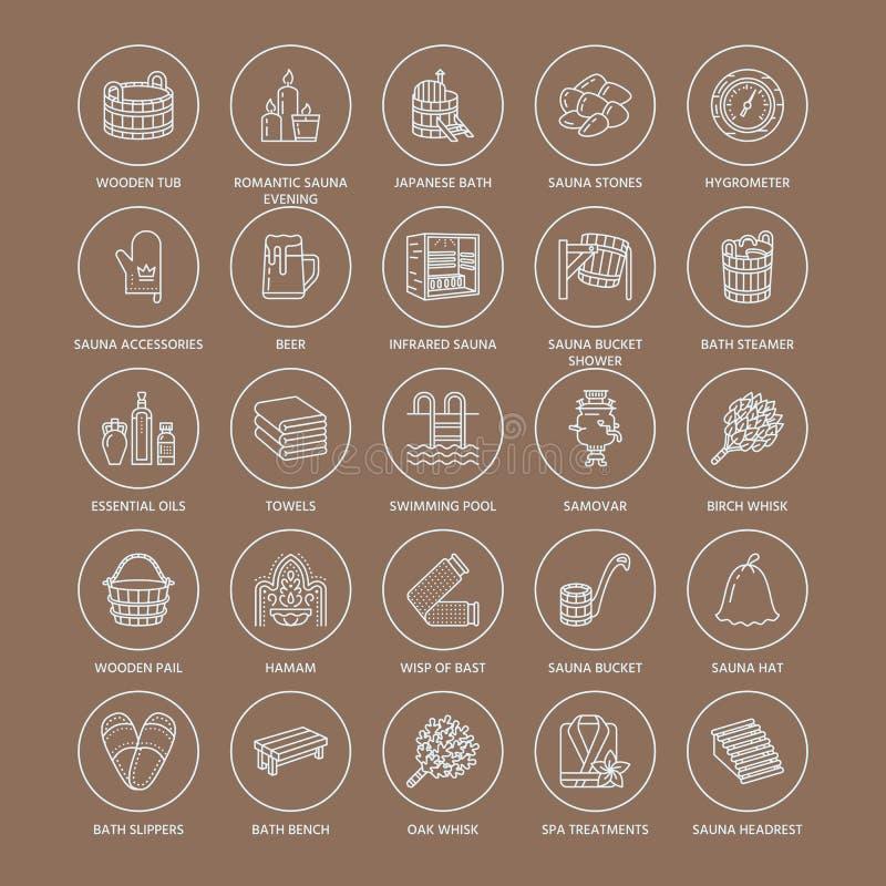 Sauna, steam bath line icons. Bathroom equipment birch, oak birch, bucket. Hammam, japanese, finnish, russian, infrared sauna sign. Spa relaxation accessories stock illustration