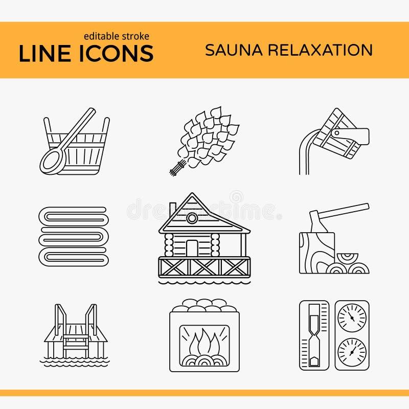 Sauna tematu ikony set ilustracja wektor