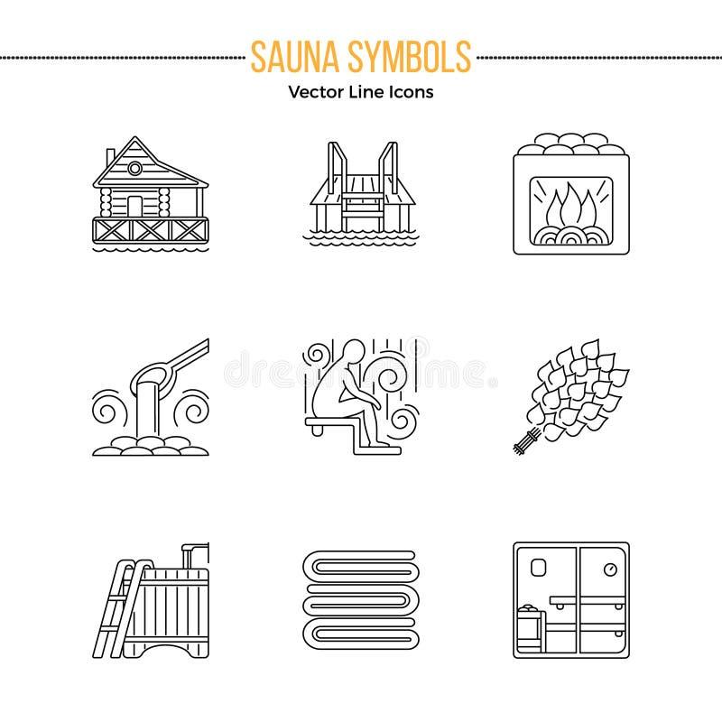 Sauna tematu ikony set royalty ilustracja