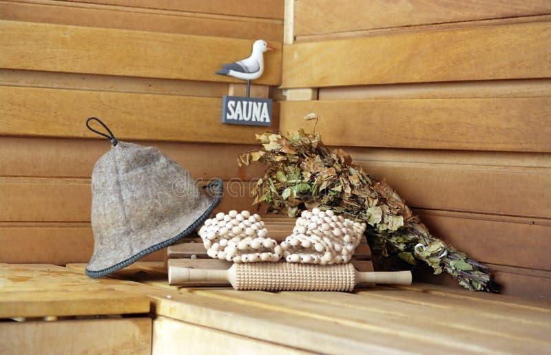 Sauna. Todo listo? imagenes de archivo