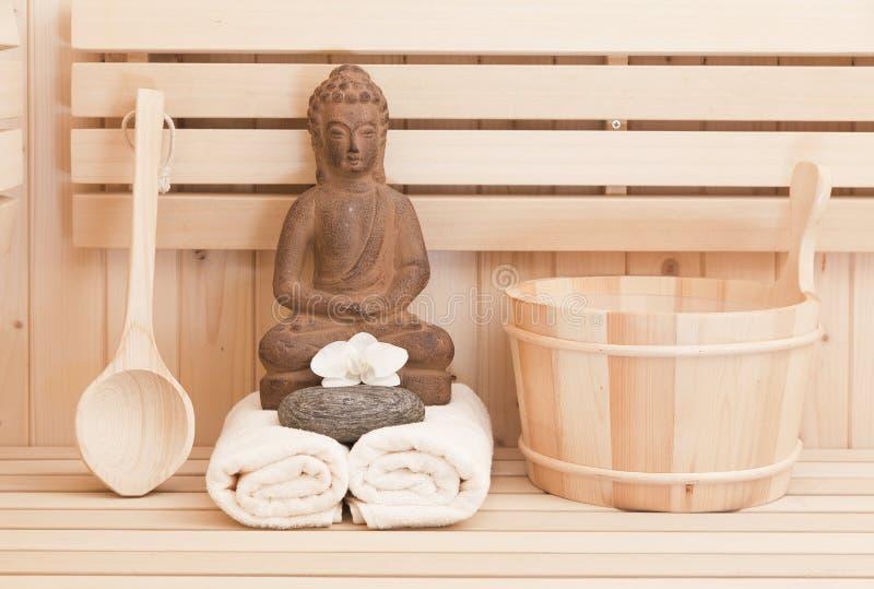 Sauna withrelaxation Einzelteile lizenzfreie stockbilder