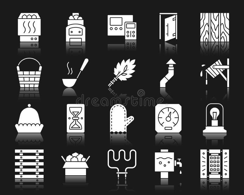 Sauna wyposażenia sylwetki ikon wektoru biały set ilustracja wektor
