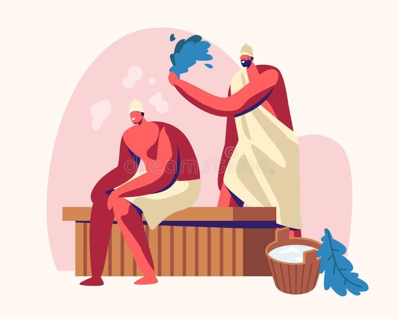 Sauna zdroju wody procedura Relaks, cia?o opieki terapia, para m??czy?ni Siedzi na Drewnianej ?awce w Parowym pokoju w sk?paniu royalty ilustracja