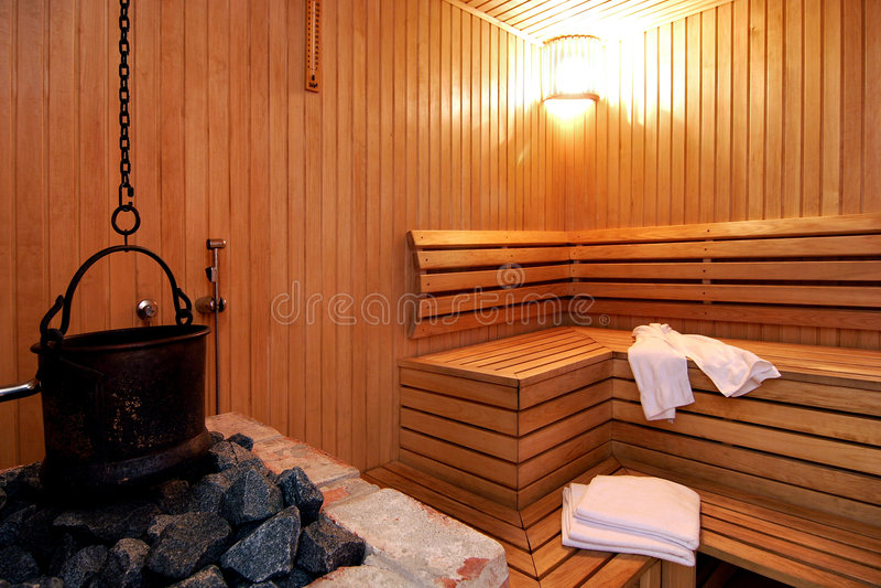 Saunaraum im Hotel stockfoto