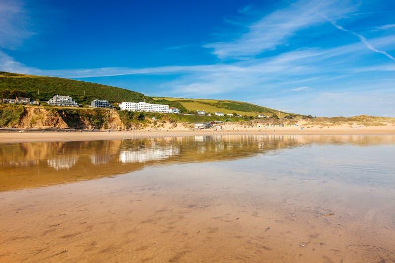 Saunton Sands Devon England UK. Reflections on Saunton Sands Devon England UK Europe royalty free stock photography