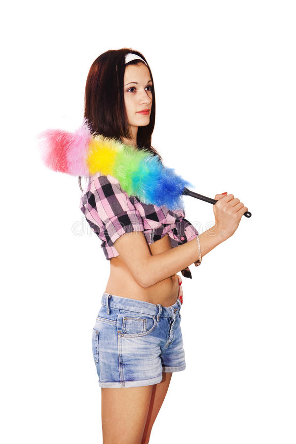 Saupoudrage de domestique de femme photo libre de droits