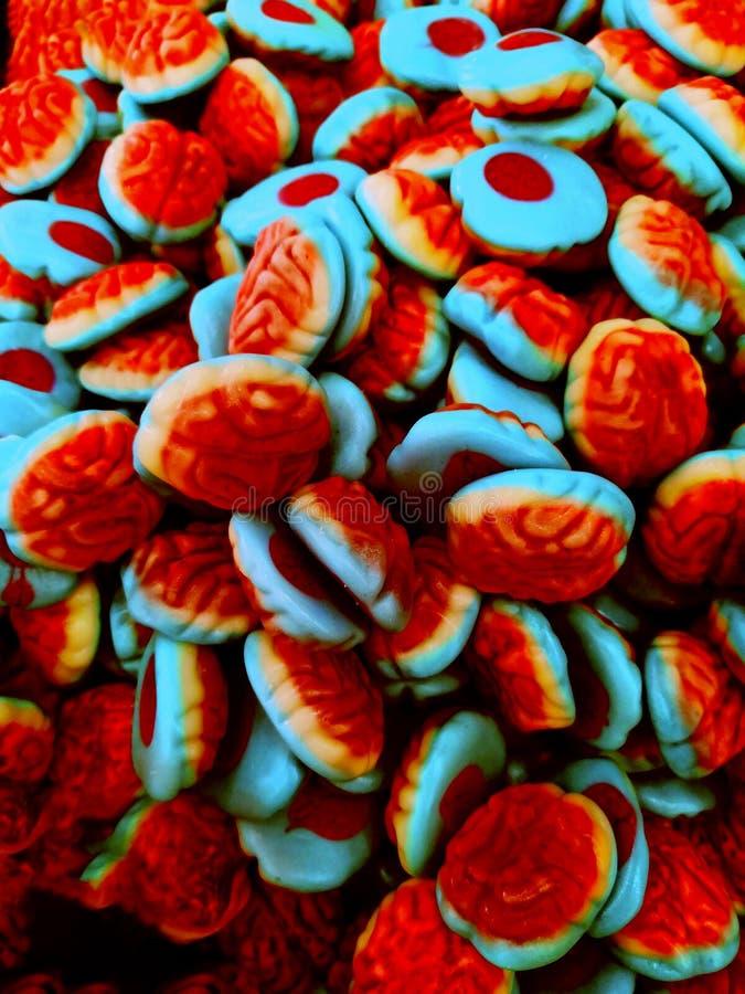 Saure Geleestreifen im Süßigkeitsgeschäft Bunte kauende Marmelade für Hintergrund lizenzfreie stockfotos