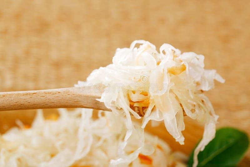 Saurer Kohl - Sauerkraut - auf hölzernem Löffel lizenzfreies stockbild