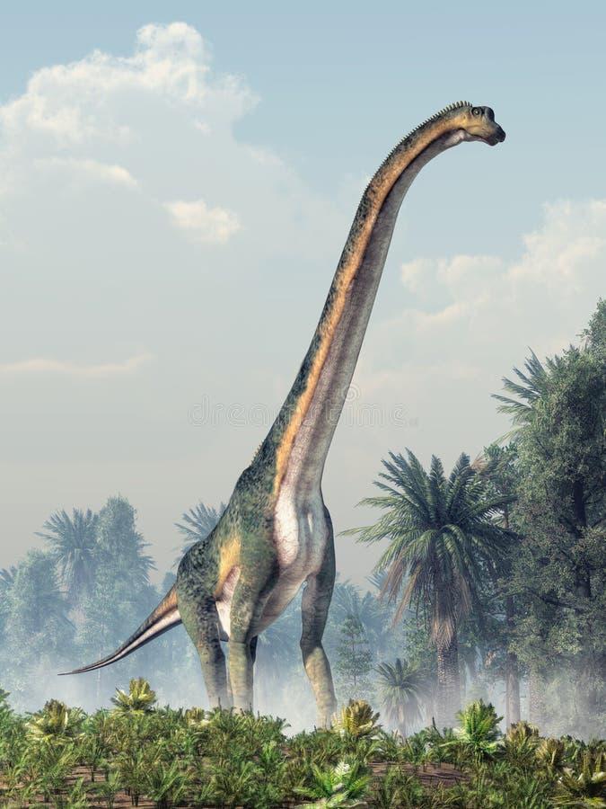 Sauropod gigante que camina hacia usted ilustración del vector