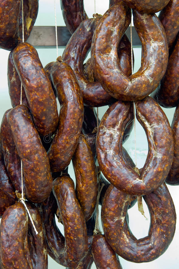 Sausage. Dried sausage in the store stock photography