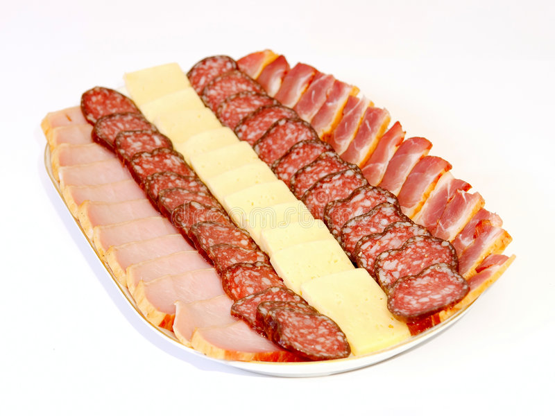 Sausage, balyk and cheese stock images