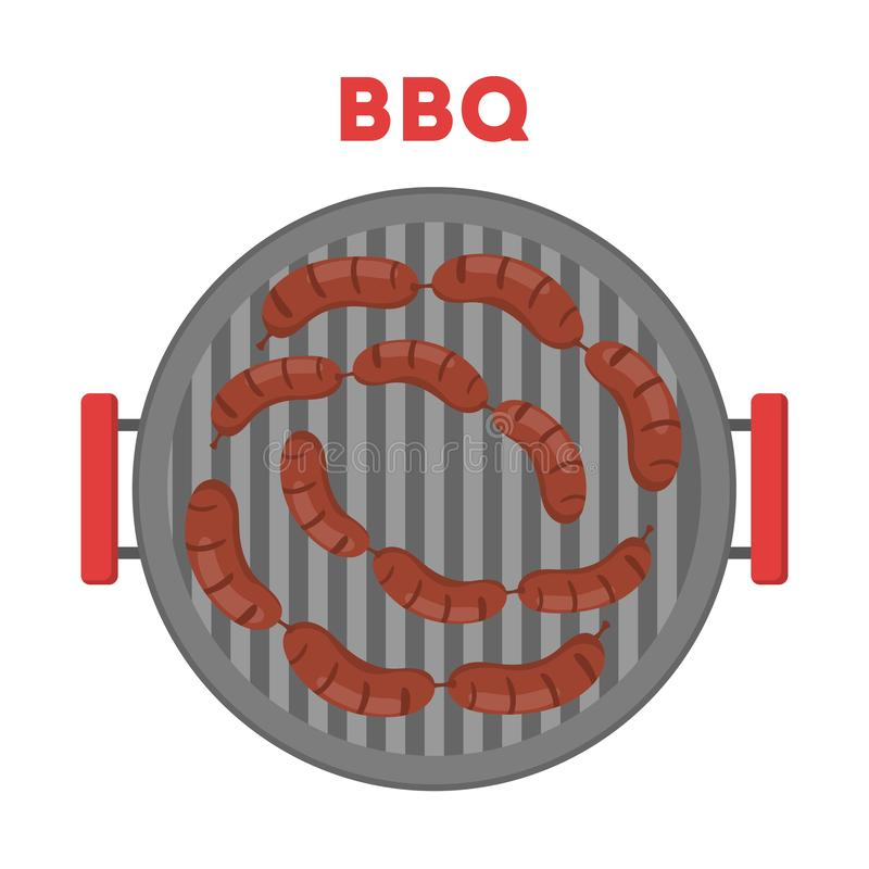 Sausage on the BBQ girll. Cooking food the barbecue vector illustration