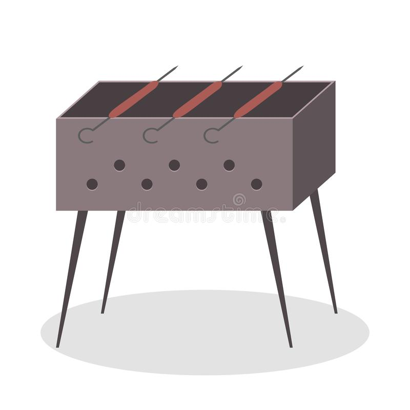 Sausage on the BBQ girll. Cooking food the barbecue. Party. Grilling tasty meat. Isolated flat vector illustration royalty free illustration