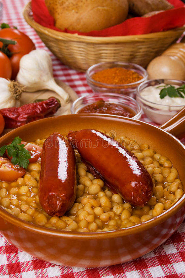Download Sausage and beans stock photo. Image of spicy, cuisine - 18406408