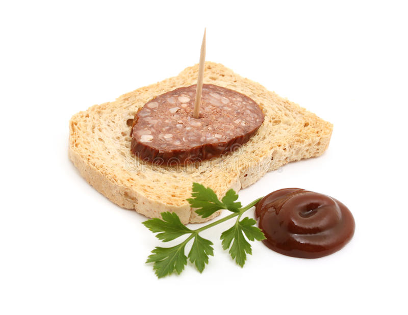 Sausage on bread royalty free stock images