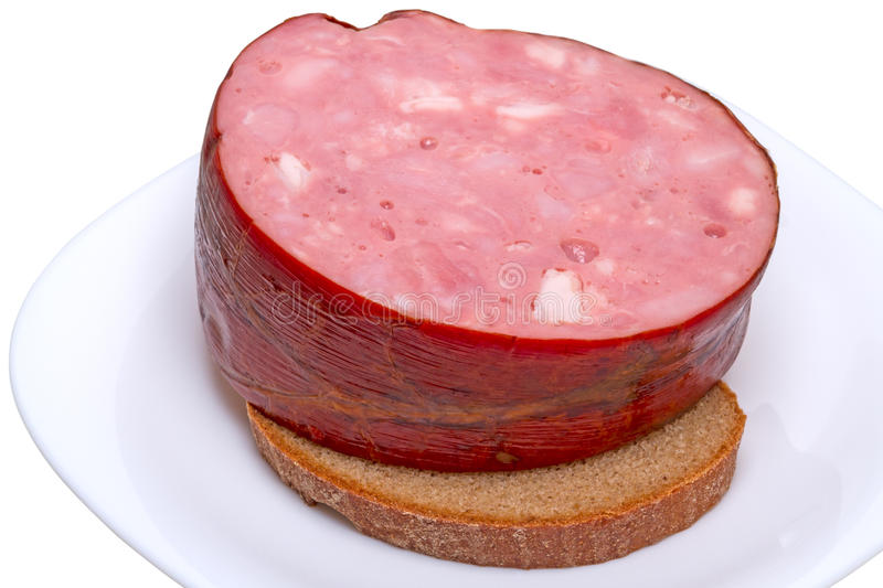Sausage on bread stock image