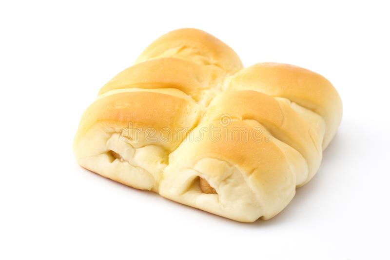 Sausage bun breads isolated white background royalty free stock images