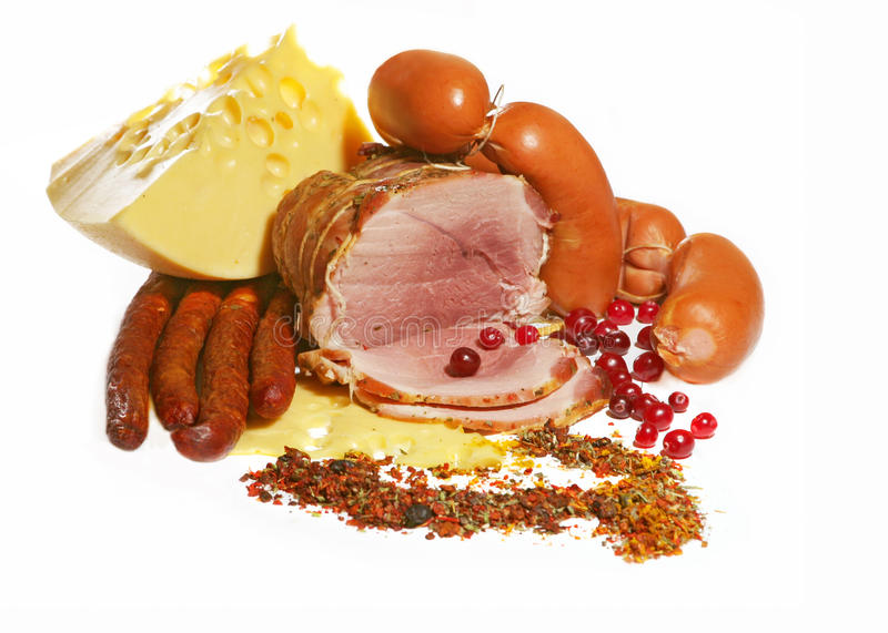 Sausage and cheese, meat products royalty free stock photo