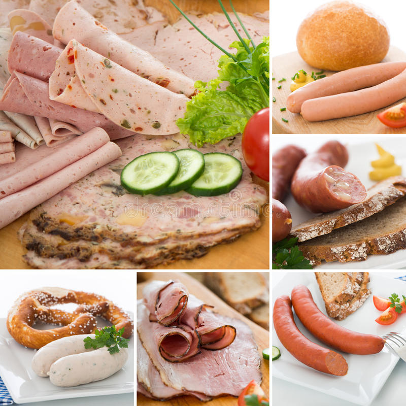 Download Sausage collage stock image. Image of napkin, bread, blue - 34455969