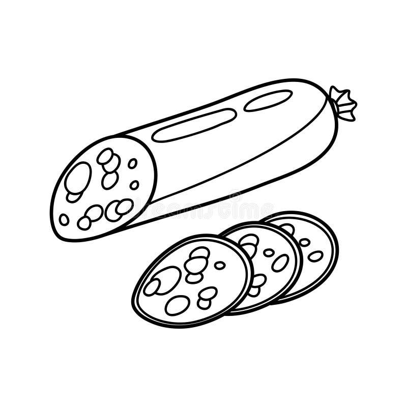 Картинка колбаса для детей черно-белая