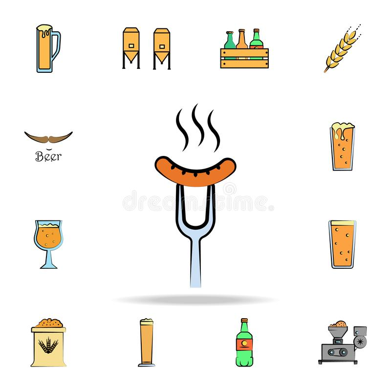 Sausage on the fork colored sketch style icon. Detailed set of color beer in hand drawn style icons. Premium graphic design. One. Of the collection icons for stock illustration