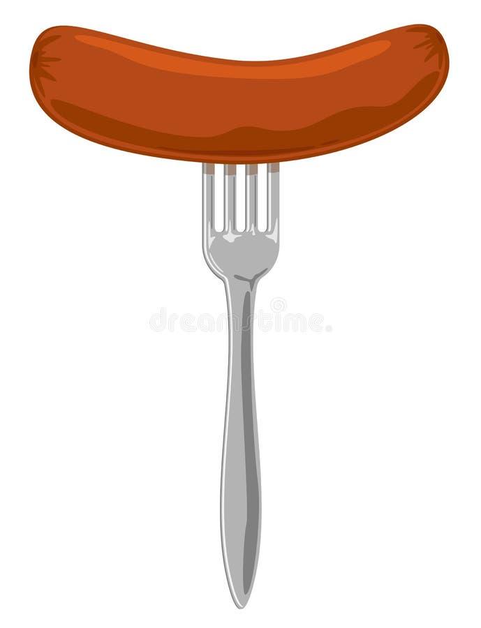 Sausage on the fork royalty free illustration