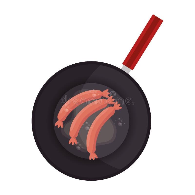 Sausage Fried in frying pan. Vector illustration design royalty free illustration