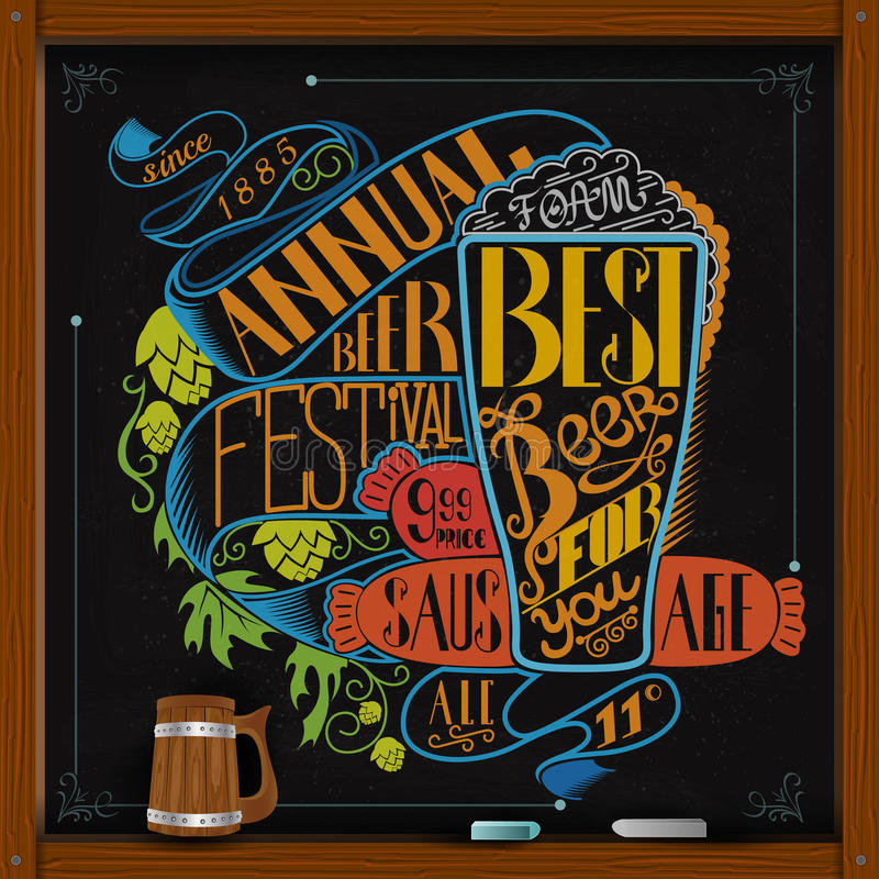 Sausage glass of beer hop and annual beer festival lettering vector illustration