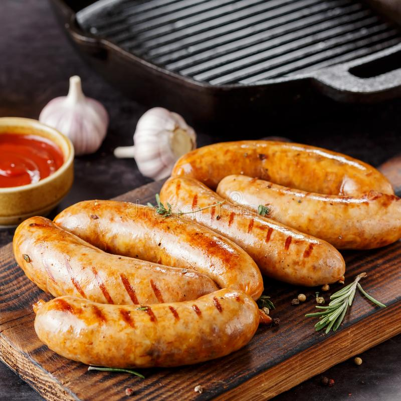 Sausage grill, Close-up stock images