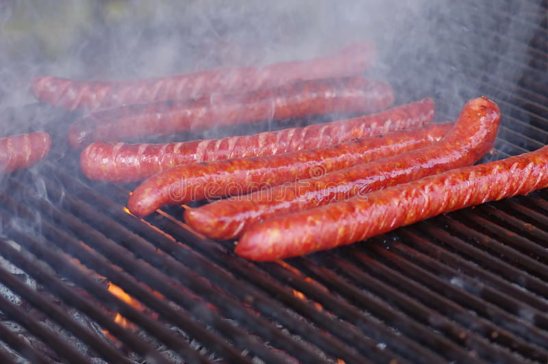 Hot Dog on the grill royalty free stock image