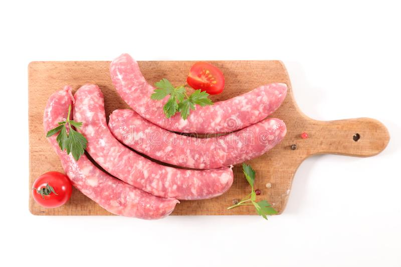 Sausage isolated on white background royalty free stock photography