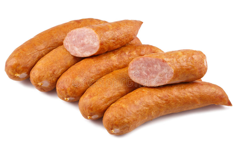 Sausage, jess cold meats isolated on white background stock image
