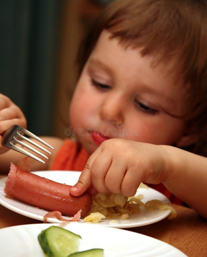 Sausage with macaroni royalty free stock photography