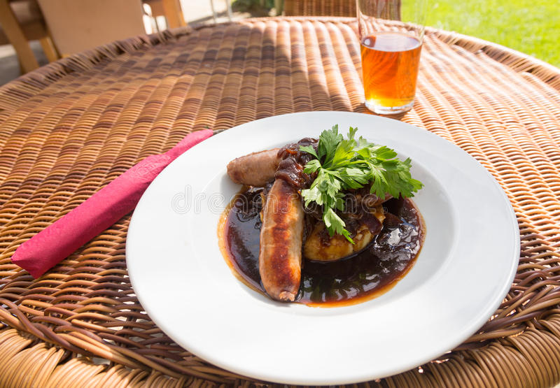 Download Sausage And Mash With Gravy In English Pub Stock Image - Image: 26937127