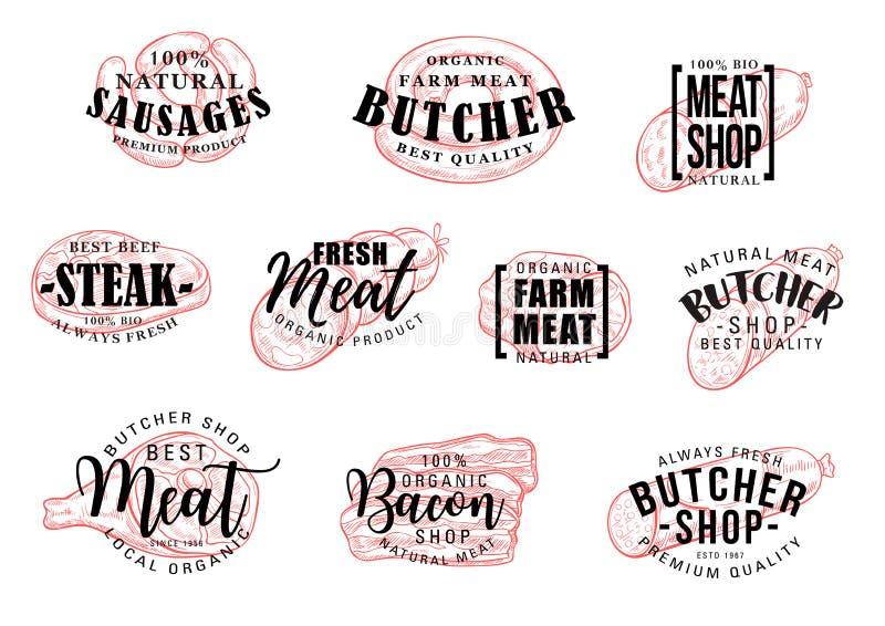 Sausage and meat lettering, butcher shop vector illustration