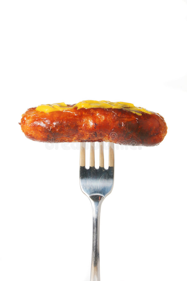 Download Sausage With Mustard On Fork Stock Photo - Image: 6602250