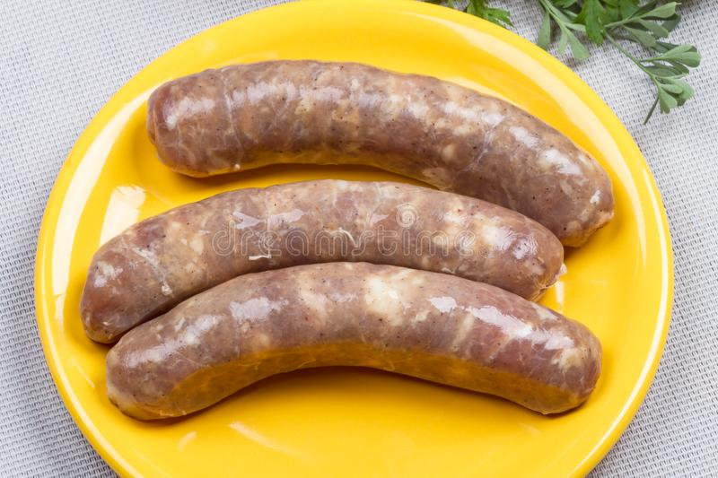 Sausage in natural casing stock photography