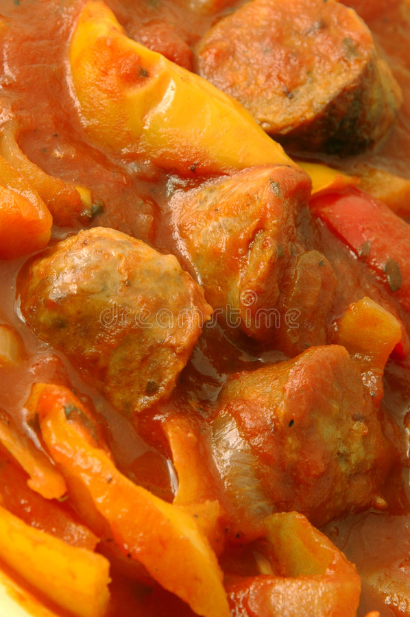 Sausage and peppers royalty free stock images