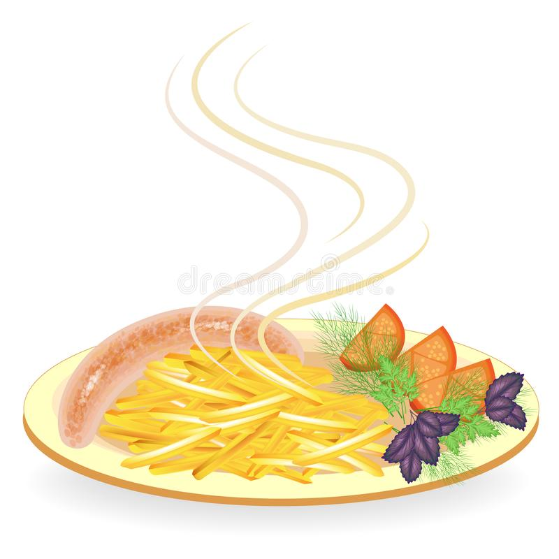 Sausage on a plate. Garnish fried potatoes, vegetables, tomato and greens of dill, basil and parsley. Hot dish for breakfast,. Lunch, dinner. Tasty and royalty free illustration